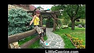 Little caprice learns roller skating undressed outd...